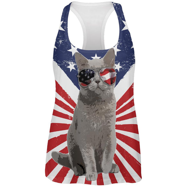4th Of July Meowica America Patriot Cat All Over Womens Work Out Tank Top