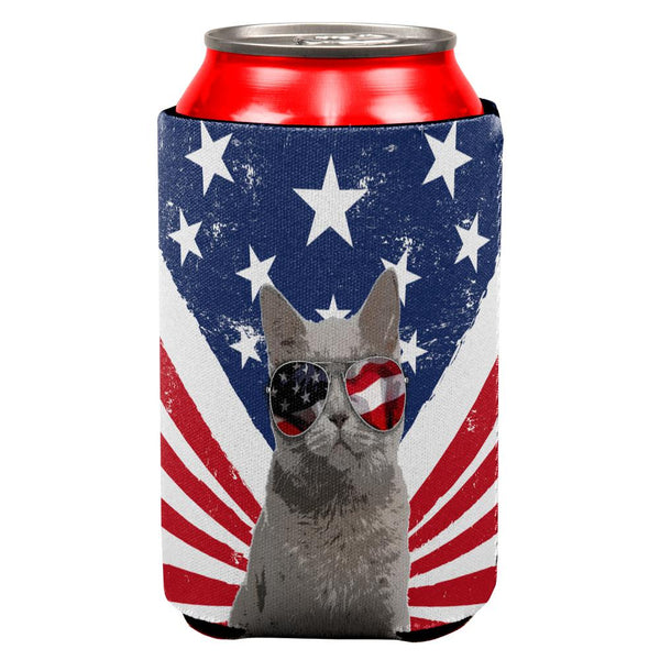 4th Of July Meowica America Patriot Cat All Over Can Cooler