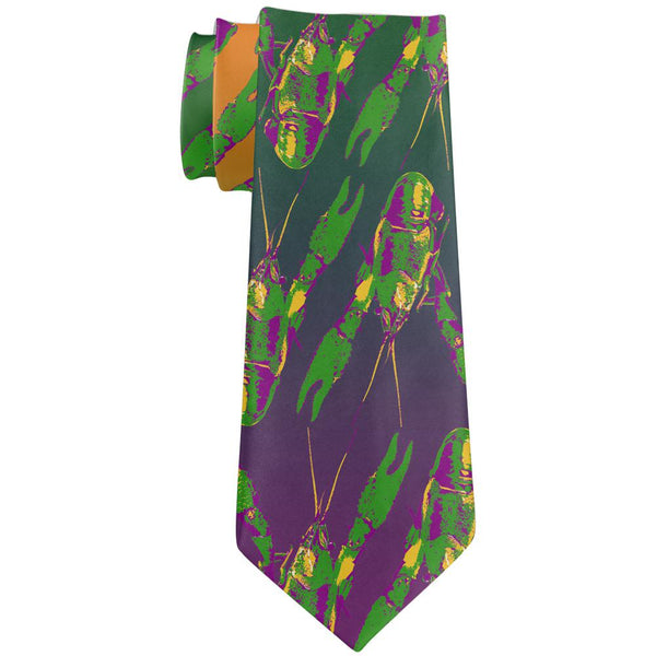 Mardi Gras Cajun Crawfish All Over Neck Tie