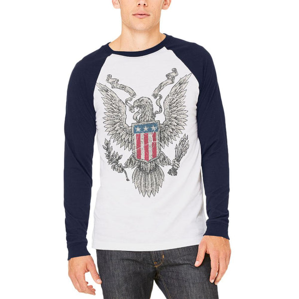 4th of July Born Free Distressed Vintage Eagle Mens Long Sleeve Raglan T Shirt