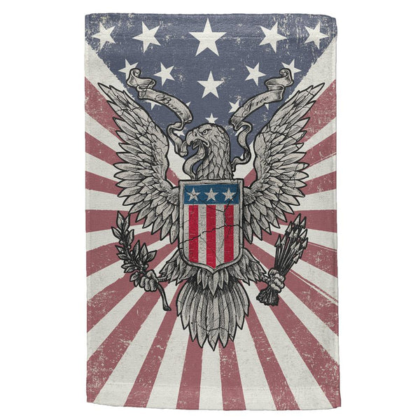 4th of July Born Free Distressed American Eagle All Over Hand Towel