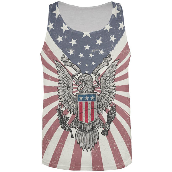 4th of July Born Free Distressed American Eagle All Over Mens Tank Top