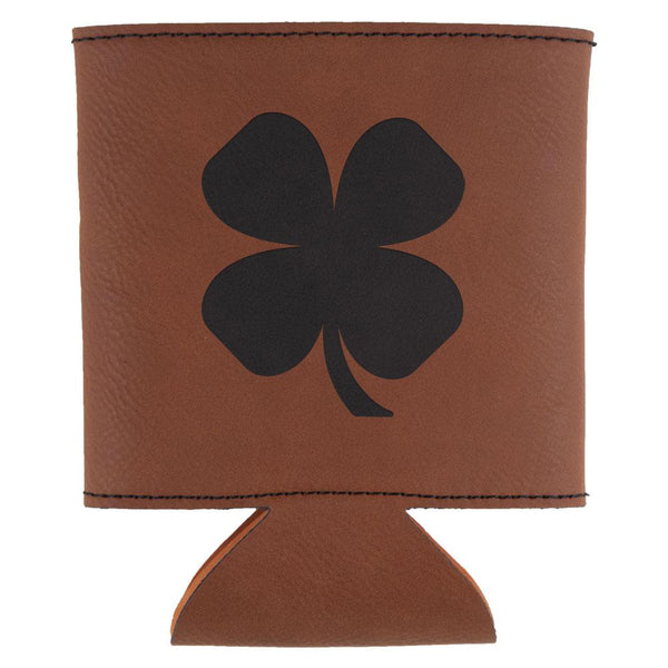 St. Patricks Day Shamrock Etched Leatherette Can Cooler