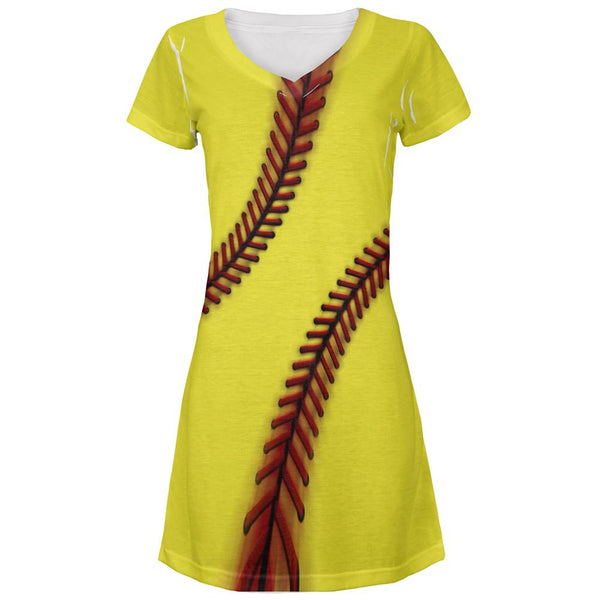 Fastpitch Softball All Over Juniors Beach Cover-Up Dress