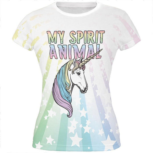 My Spirit Animal Unicorn Pastel Rainbow All Over Juniors T Shirt