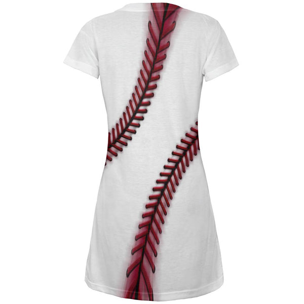 Fastball Baseball All Over Juniors Beach Cover-Up Dress