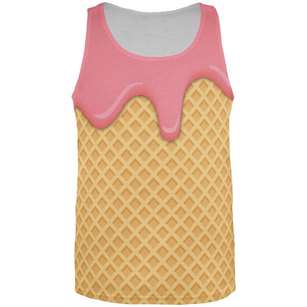 Melting Strawberry Ice Cream Cone All Over Mens Tank Top