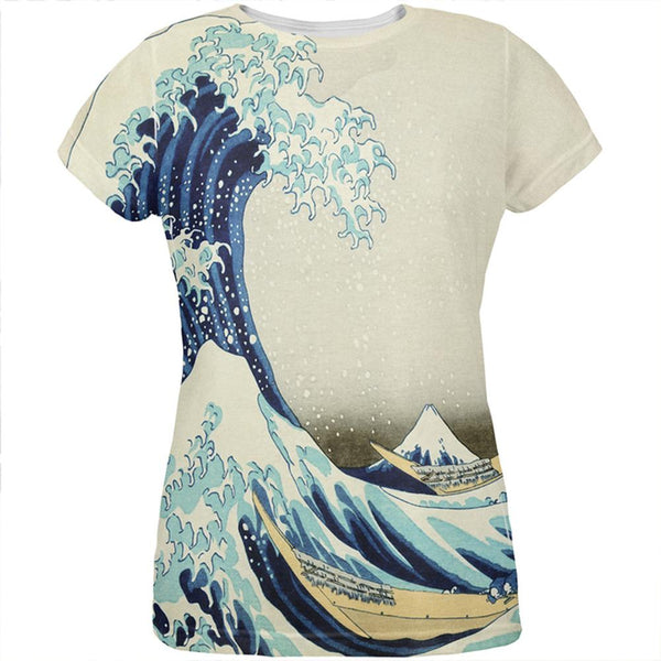 Great Wave Tsunami Japanese Painting All Over Womens T Shirt