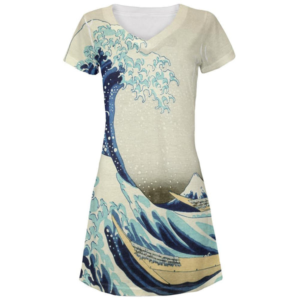 Great Wave Tsunami Japanese Painting All Over Juniors Beach Cover-Up Dress