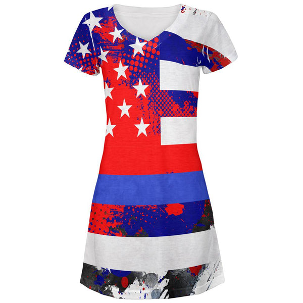 Thin Blue Line Police Lives Matter Distressed Splatter All Over Juniors Beach Cover-Up Dress