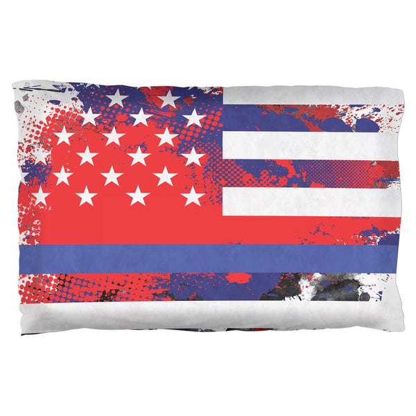 Thin Blue Line Police Lives Matter Distressed Splatter Pillow Case