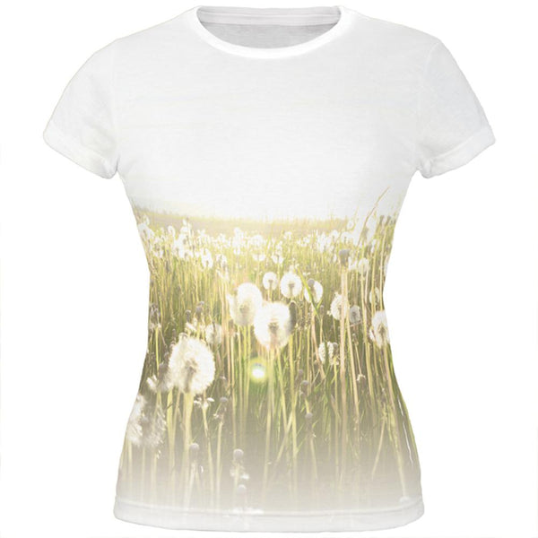 Field Of Wishes Dandelions All Over Juniors T Shirt