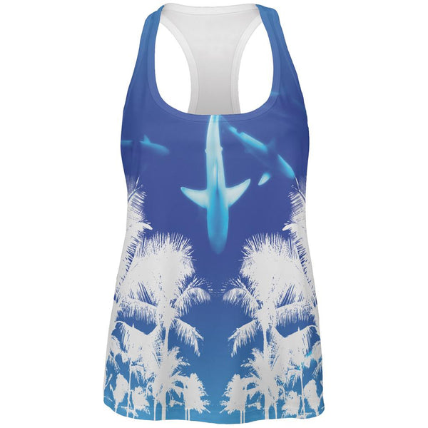 Summer Shark Beach Party All Over Womens Work Out Tank Top