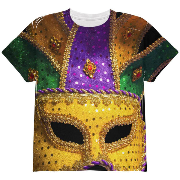 Mardi Gras Large Mask All Over Youth T Shirt