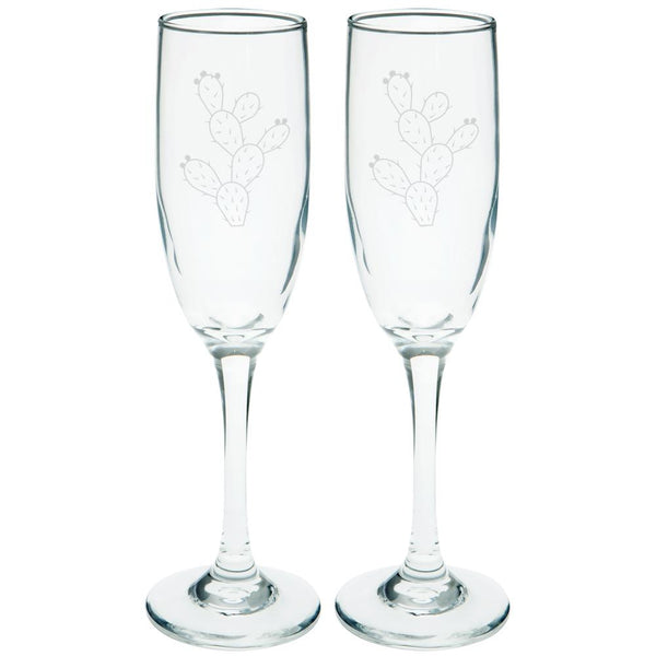 Cinco de Mayo Prickly Pear Cactus Etched Champagne Glass Set