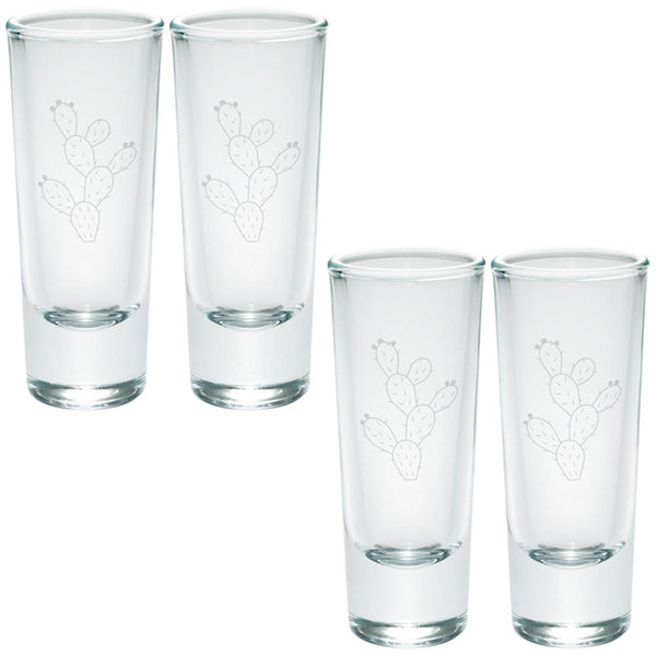 Cinco de Mayo Prickly Pear Cactus Etched Shot Glass Shooter Set of 4