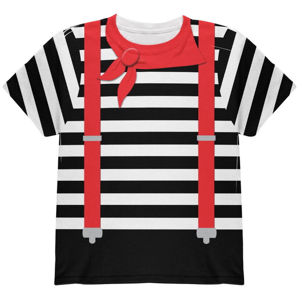 Halloween French Mime Costume All Over Youth T Shirt