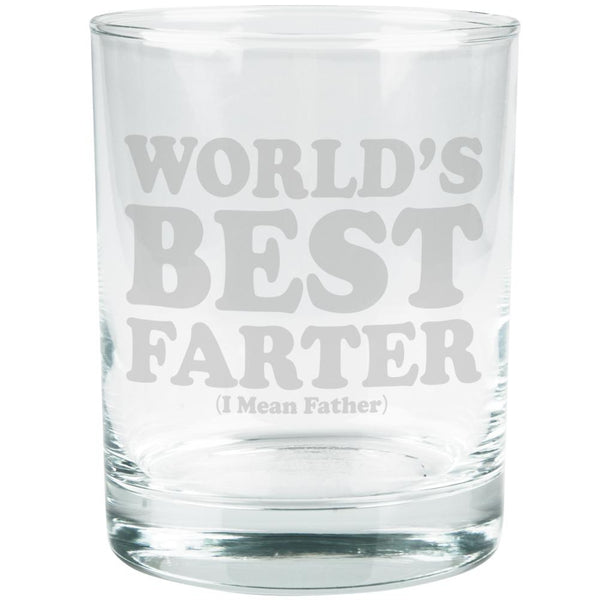 Father's Day World's Best Farter Etched Glass Tumbler