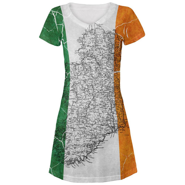 St Patrick's Day Vintage Irish Map Flag Distressed All Over Juniors Beach Cover-Up Dress