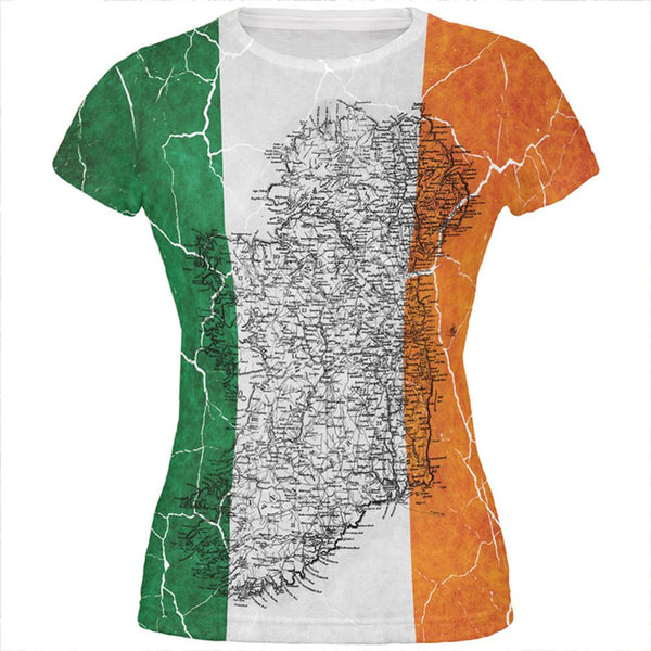 St Patrick's Day Vintage Irish Map Flag Distressed All Over Juniors T Shirt
