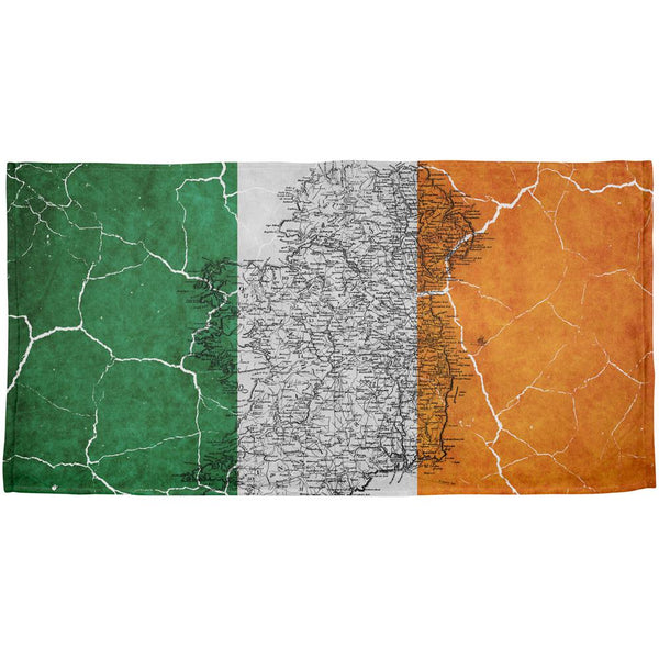 St Patrick's Day Vintage Irish Map Flag Distressed All Over Beach Towel