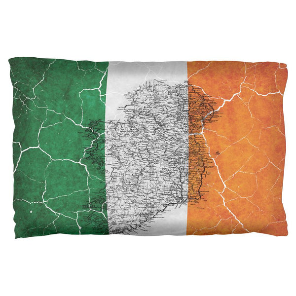 St Patrick's Day Vintage Irish Map Flag Distressed Pillow Case