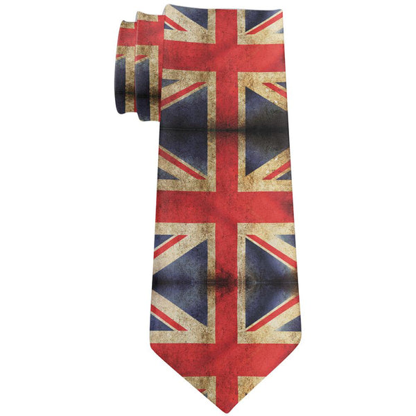 British Flag Union Jack Grunge Distressed All Over Neck Tie