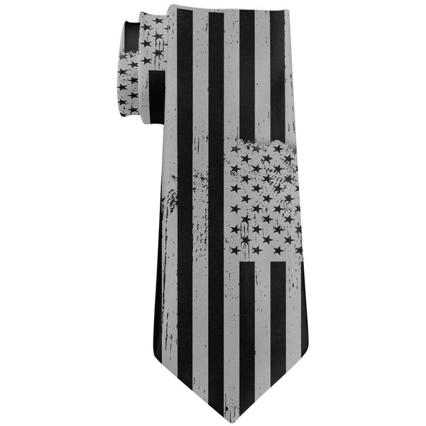 July 4th Black And Grey Distressed American Flag All Over Neck Tie