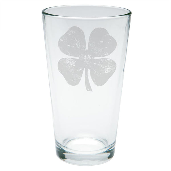 St Patrick's Day Distressed Shamrock Etched Pint Glass