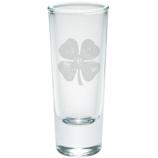 St Patrick's Day Distressed Shamrock Etched Shot Glass Shooter