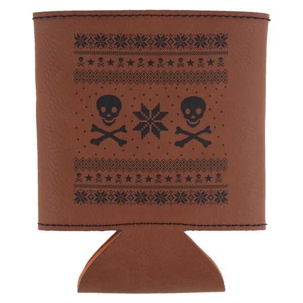 Skull And Crossbones Ugly Christmas Sweater Etched Leatherette Can Cooler