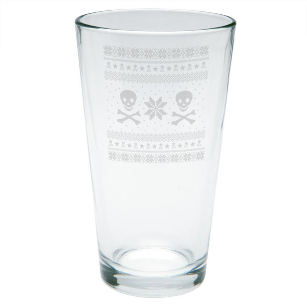 Skull And Crossbones Ugly Christmas Sweater Etched Pint Glass