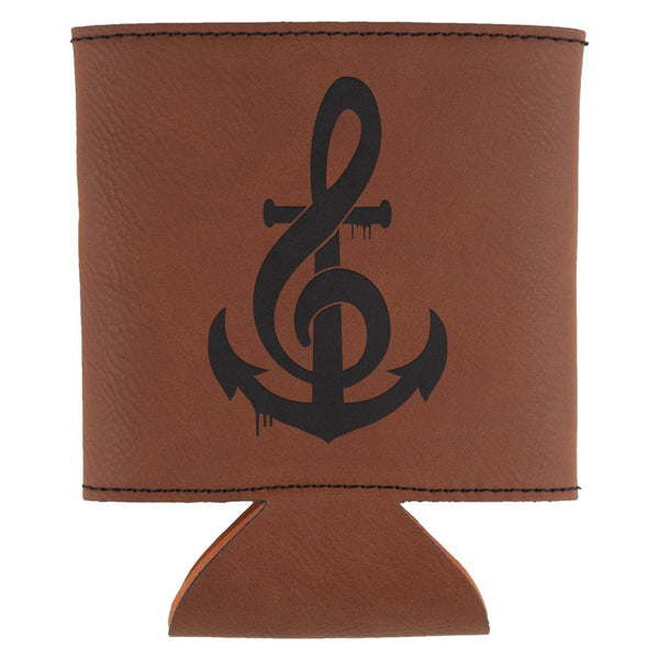 Anchor Clef Note Music Etched Leatherette Can Cooler