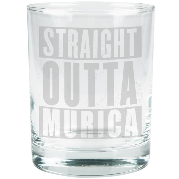 July 4th Straight Outta Murica America Etched Glass Tumbler