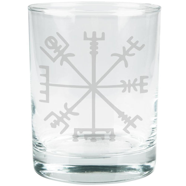 Vegvisir Viking Storm Compass Etched Glass Tumbler