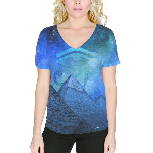 Eye Of Ra Pyramids Egypt Women's Slouchy V-Neck T Shirt