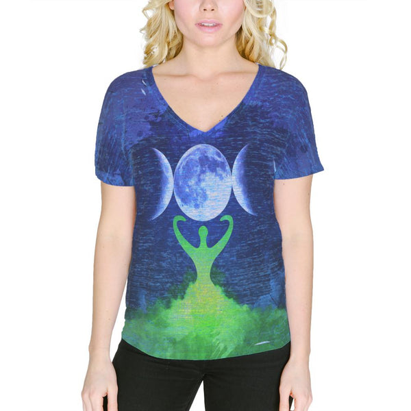 Wiccan Moon Goddess Mother Earth Symbol Women's Slouchy V-Neck T Shirt
