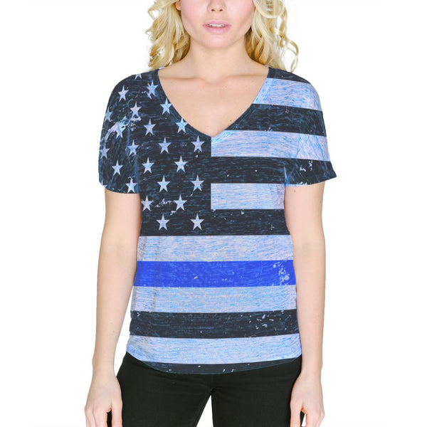 Distressed Thin Blue Line American Flag Women's Slouchy V-Neck T Shirt