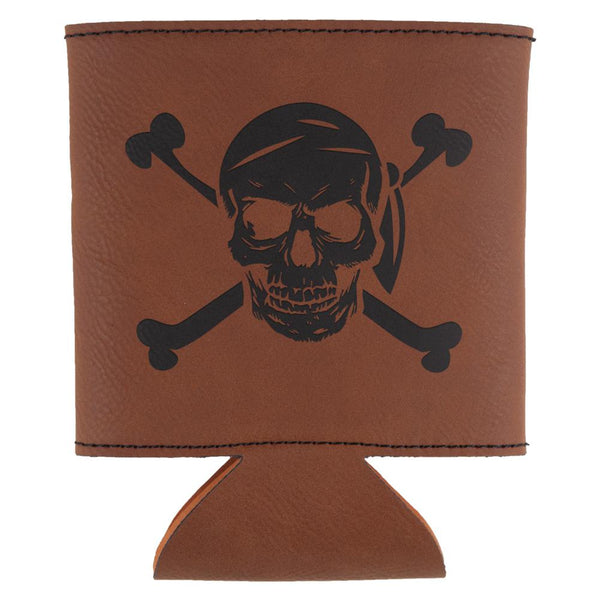 Jolly Roger Pirate Skull And Crossbones Etched Leatherette Can Cooler