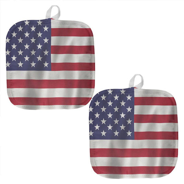 July 4th American Flag Waving All Over Pot Holder (Set of 2)
