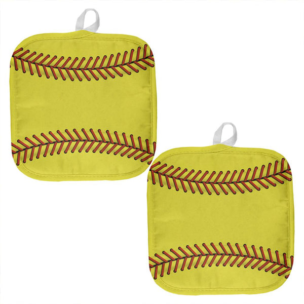 Softball All Over Pot Holder (Set of 2)
