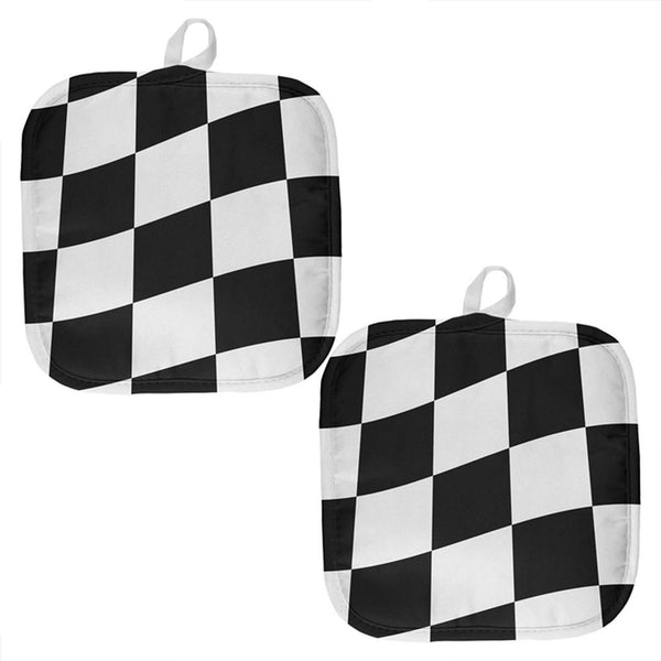 Finish Line Checkered Flag Waving All Over Pot Holder (Set of 2)