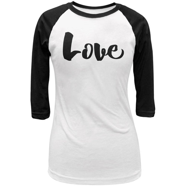 Script Cursive Love Juniors 3/4 Sleeve Raglan T Shirt