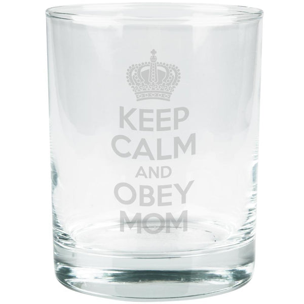 Mother's Day Keep Calm Obey Mom Etched Glass Tumbler