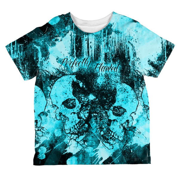 Perfectly Flawed Blue Dreaming Skulls All Over Toddler T Shirt