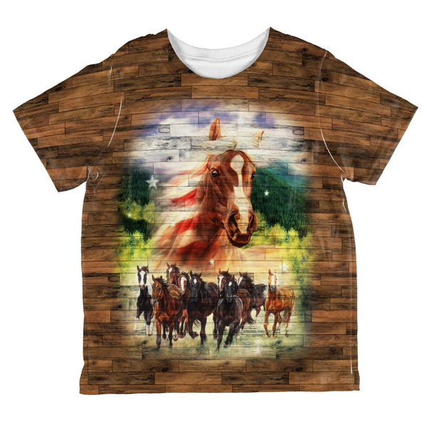 4th of July American Flag Wild Horse Mustang Patriot All Over Toddler T Shirt