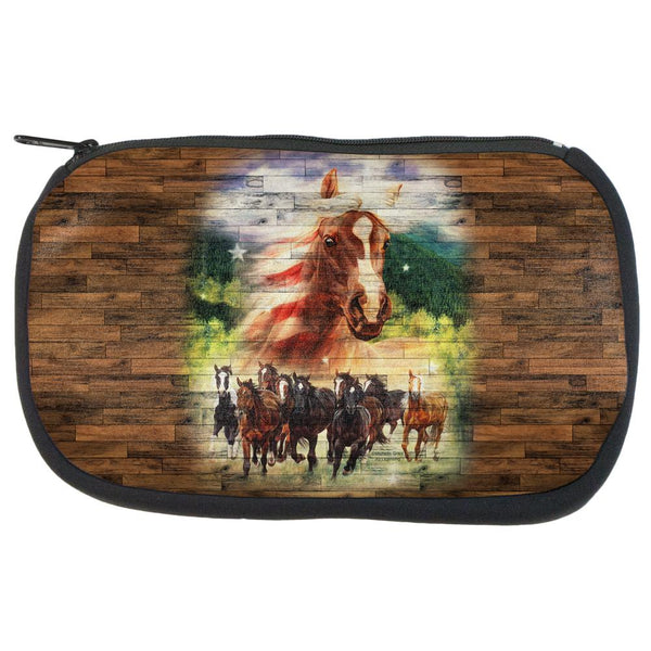 4th of July American Flag Wild Horse Mustang Patriot Travel Bag