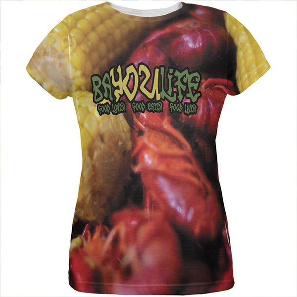 Bayou Life Crawfish Boil Cajun Louisiana All Over Womens T Shirt