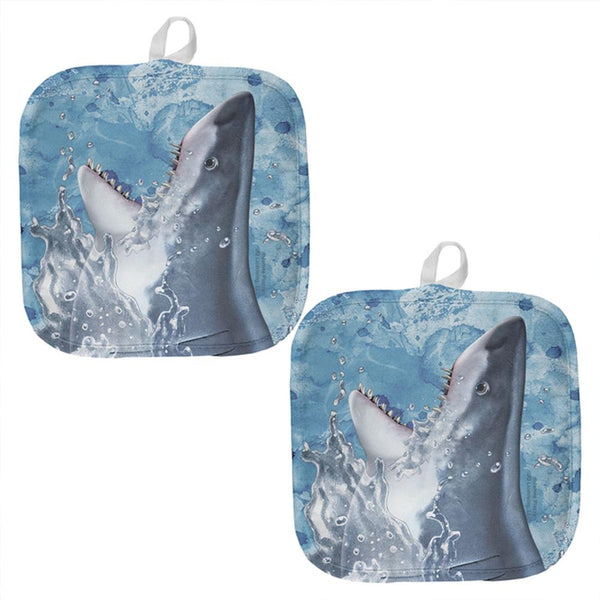 Hungry Great White Shark Breaching All Over Pot Holder (Set of 2)