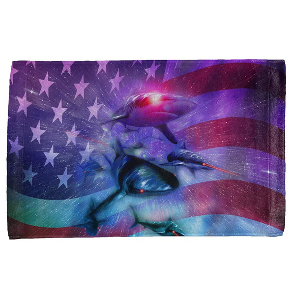 July 4th Patriotic American Galaxy Laser Sharks All Over Hand Towel